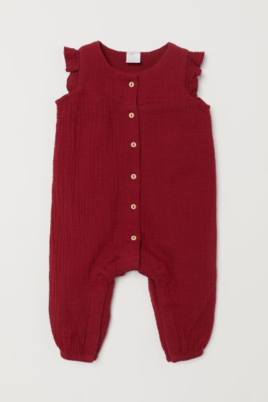 Cotton all-in-one suit - Dark red - Kids | H&M