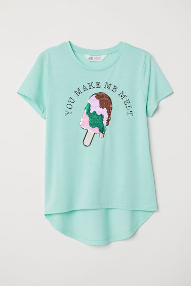 Top with a motif - Turquoise/Ice cream - Kids | H&M