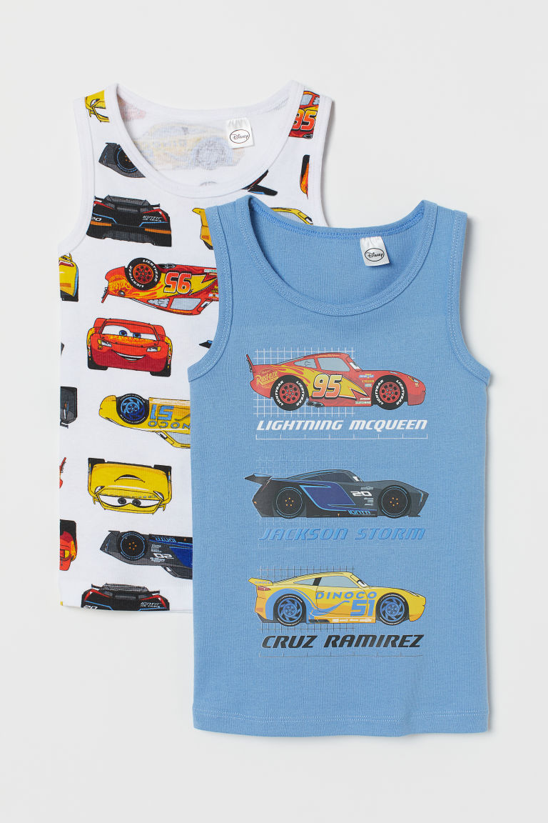 2-pack vest tops - Light blue/Cars - Kids | H&M CN