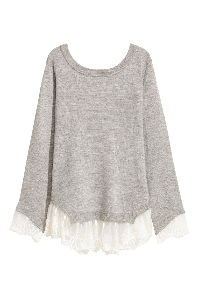Jumper with lace trims - Light grey marl -  | H&M CN