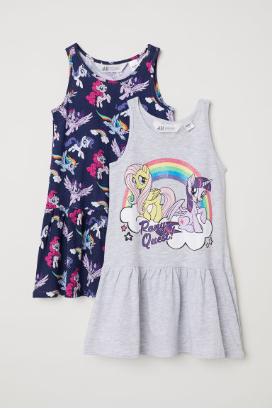 Robes en jersey, lot de 2 - Bleu foncé/My Little Pony -  | H&M FR