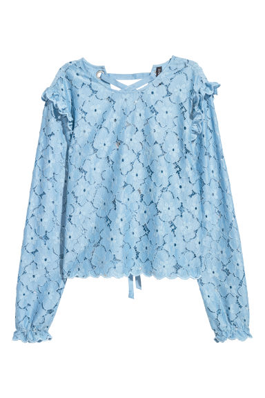 Lace blouse with lacing - Pigeon blue - Ladies | H&M