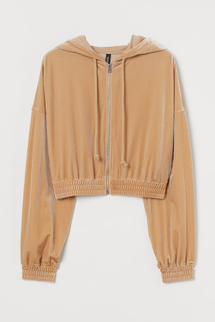 Cropped zip-through hoodie