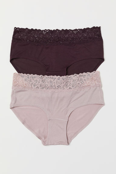 2-pack jersey hipster briefs - Plum/Powder pink - Ladies | H&M CN