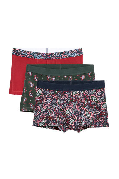 3-pack trunks - Black/Paisley patterned - Men | H&M CN