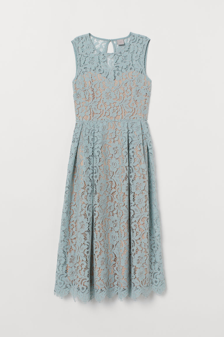 Calf-length lace dress - Mint green - Ladies | H&M