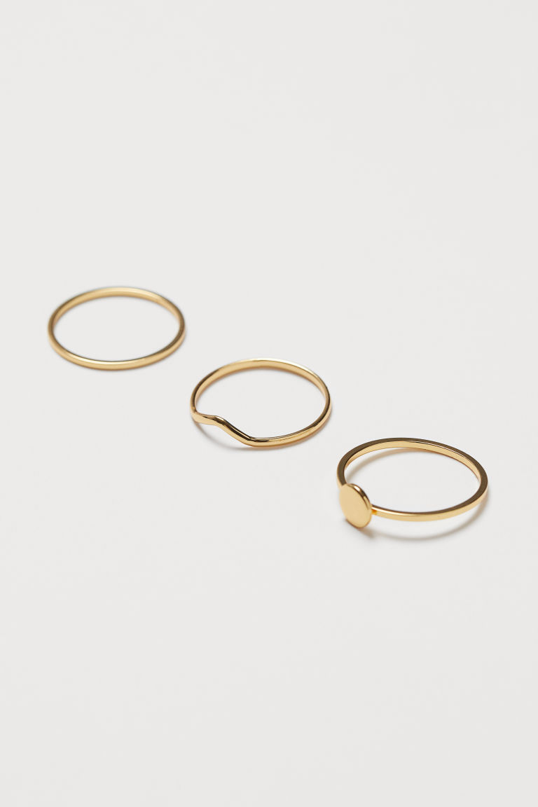 3-pack gold-plated rings - Gold-coloured - Ladies | H&M CN