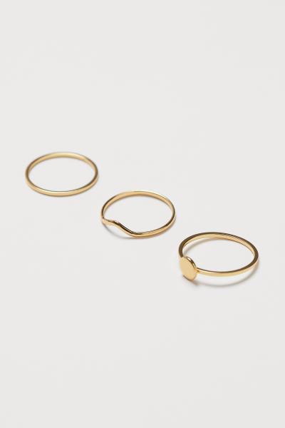 H&M - 3 anillos chapados en oro - 1