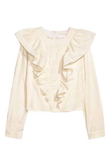 Flounced Cotton Blouse - Natural white - Ladies | H&M US