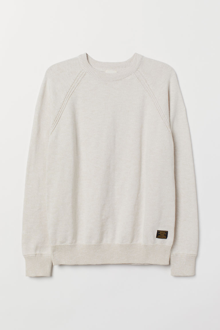 Fine-knit cotton jumper - White - Men | H&M CN