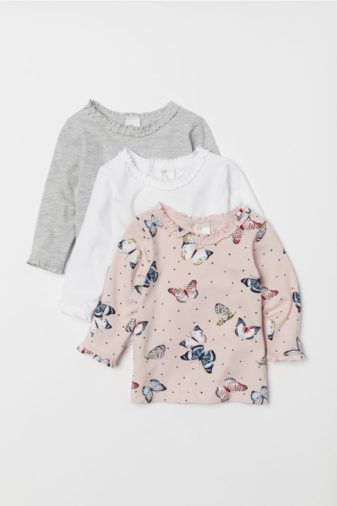 26ebdc904c93f8 3-pack Long-sleeved Tops - Powder pink/butterflies - Kids | H&M US