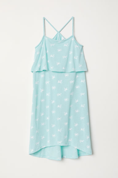 Dress with braided straps - Light turquoise/Horses - Kids | H&M