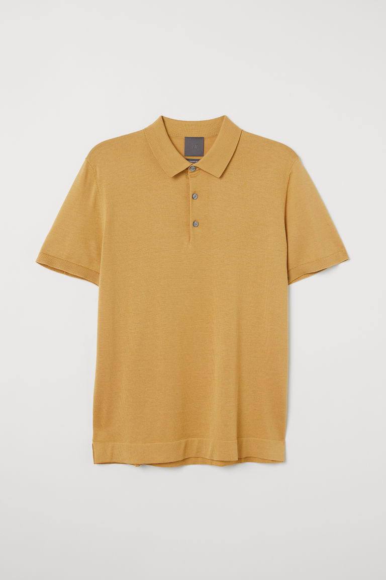 Silk-blend polo shirt - Dark mustard yellow - Men | H&M IN