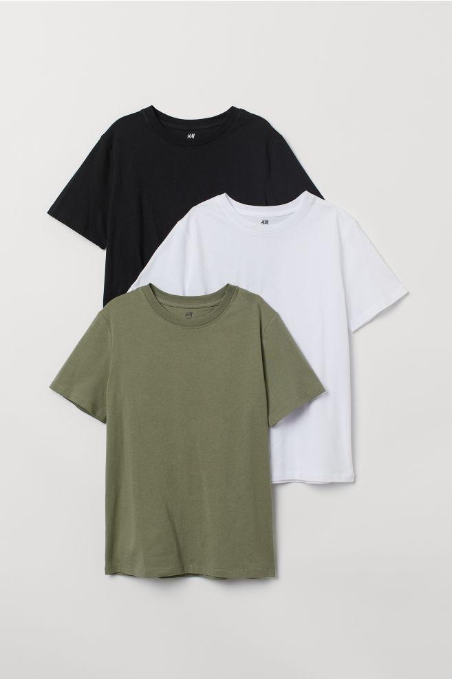 ac9ceee1467 3-pack T-shirts - Khaki green white black - Kids