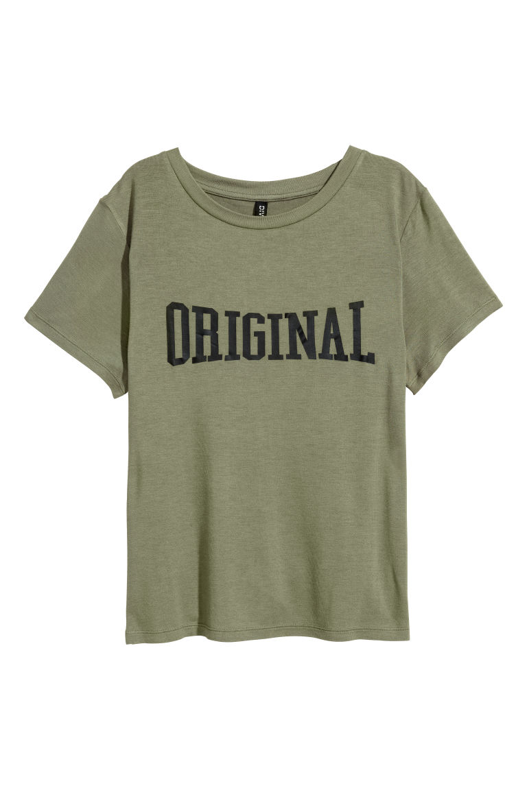 Jersey top with a motif - Khaki green - Ladies | H&M
