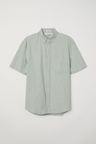 Regular Fit Poplin Shirt - Light khaki green - Men | H&M CA