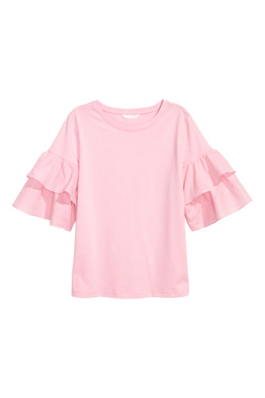 Top with frills - Light pink - Ladies | H&M
