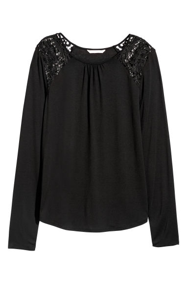 Long-sleeved top with lace - Black -  | H&M GB
