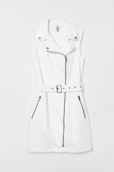 Twill biker dress - White - Ladies | H&M CN