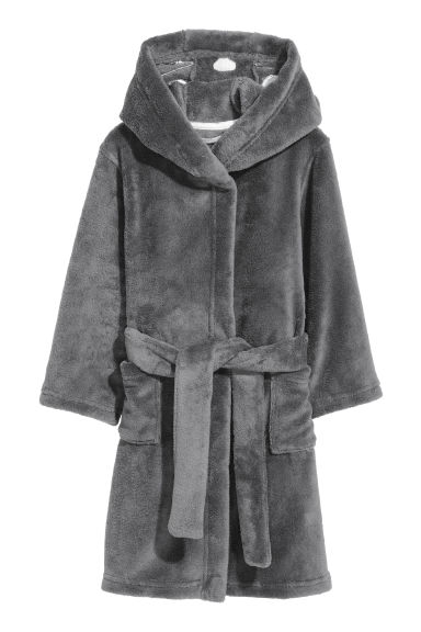 Hooded dressing gown - Dark grey - Home All | H&M GB