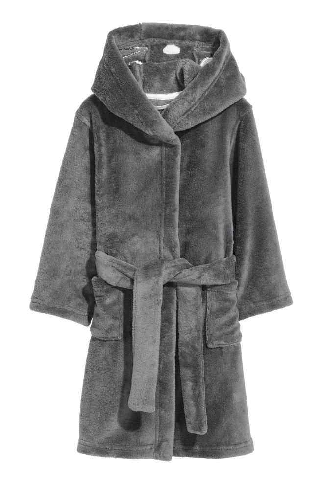 7630bccfa7 Hooded Bathrobe - Dark gray - Home All
