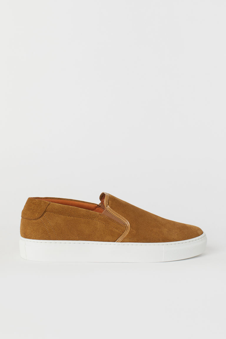 Suede slip-on trainers - Camel - Men | H&M