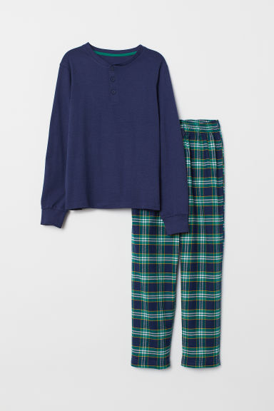 Pyjamas - Dark blue/Green checked - Kids | H&M CN