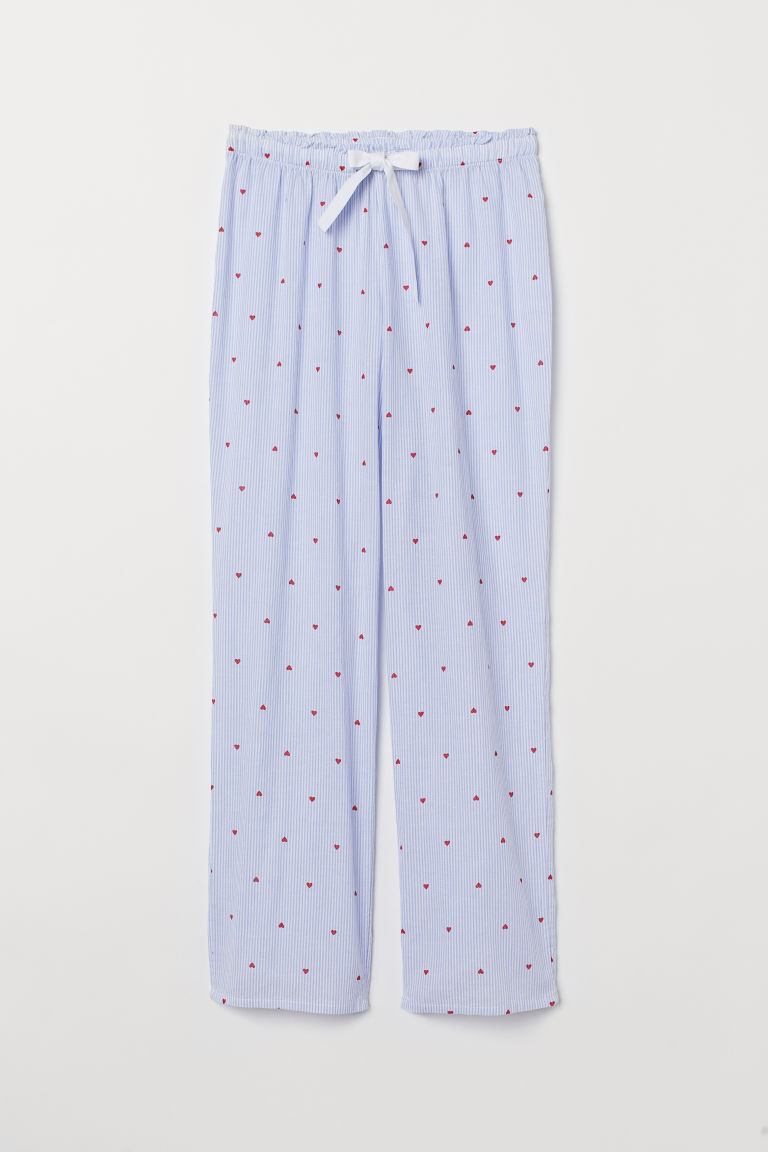 Patterned pyjama bottoms - Light blue/Striped - Ladies | H&M CN