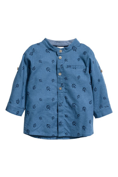 Grandad collar shirt - Dusky blue/Patterned -  | H&M
