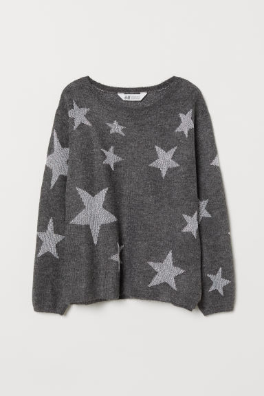 Knitted jumper with a motif - Dark grey/Stars - Kids | H&M