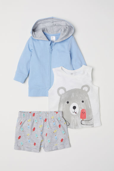 3-piece cotton set - Light blue/Bear -  | H&M