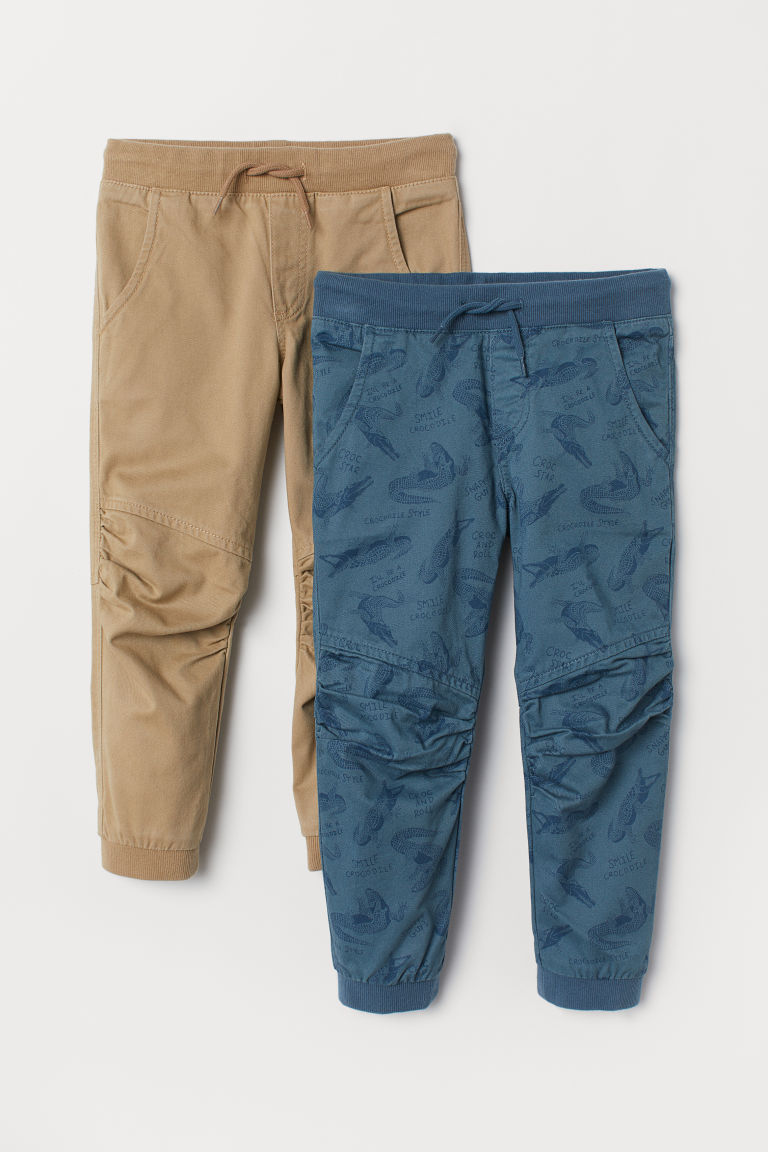Joggers in twill, 2 pz - Turchese scuro/beige - BAMBINO | H&M IT