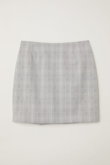 Tailored skirt - Light grey/Checked -  | H&M