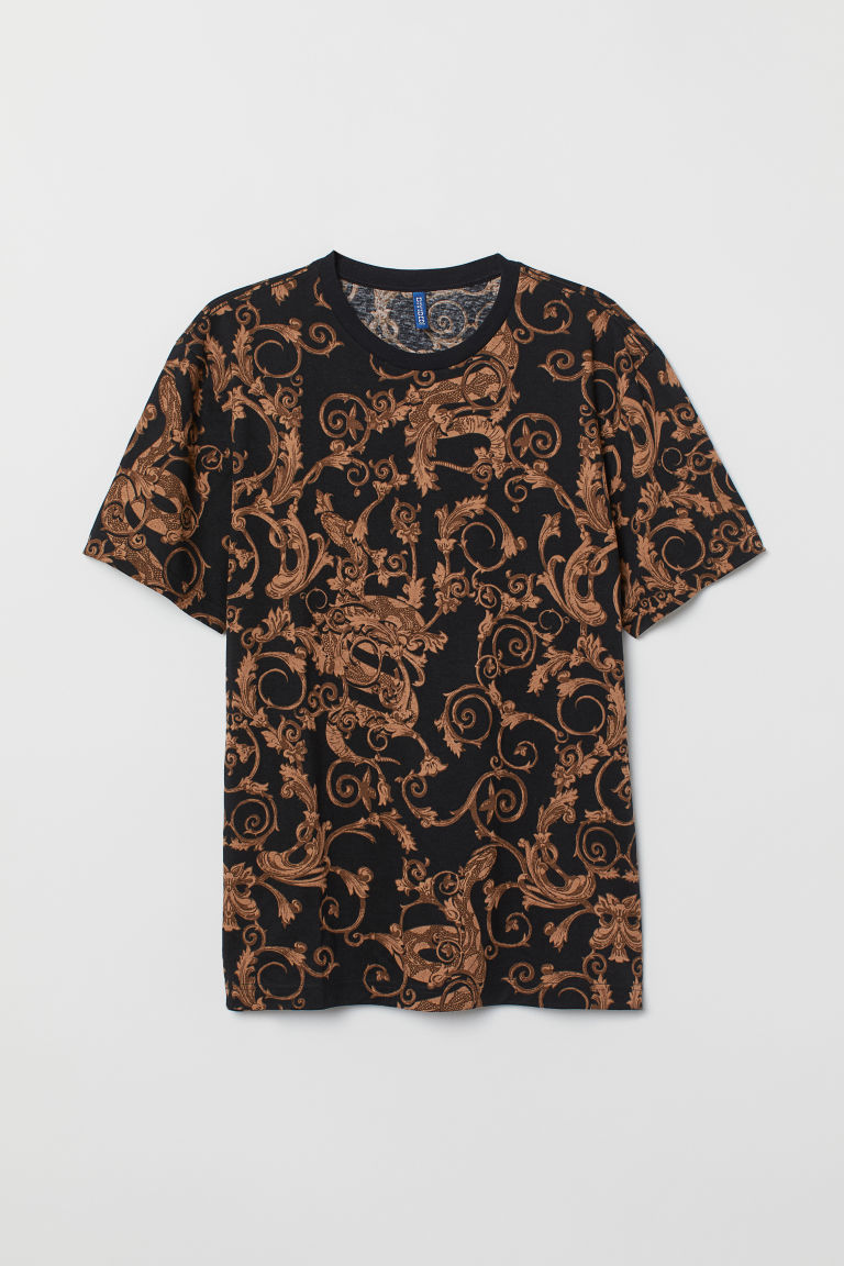 Printed T-shirt - Black/Patterned - Men | H&M CN