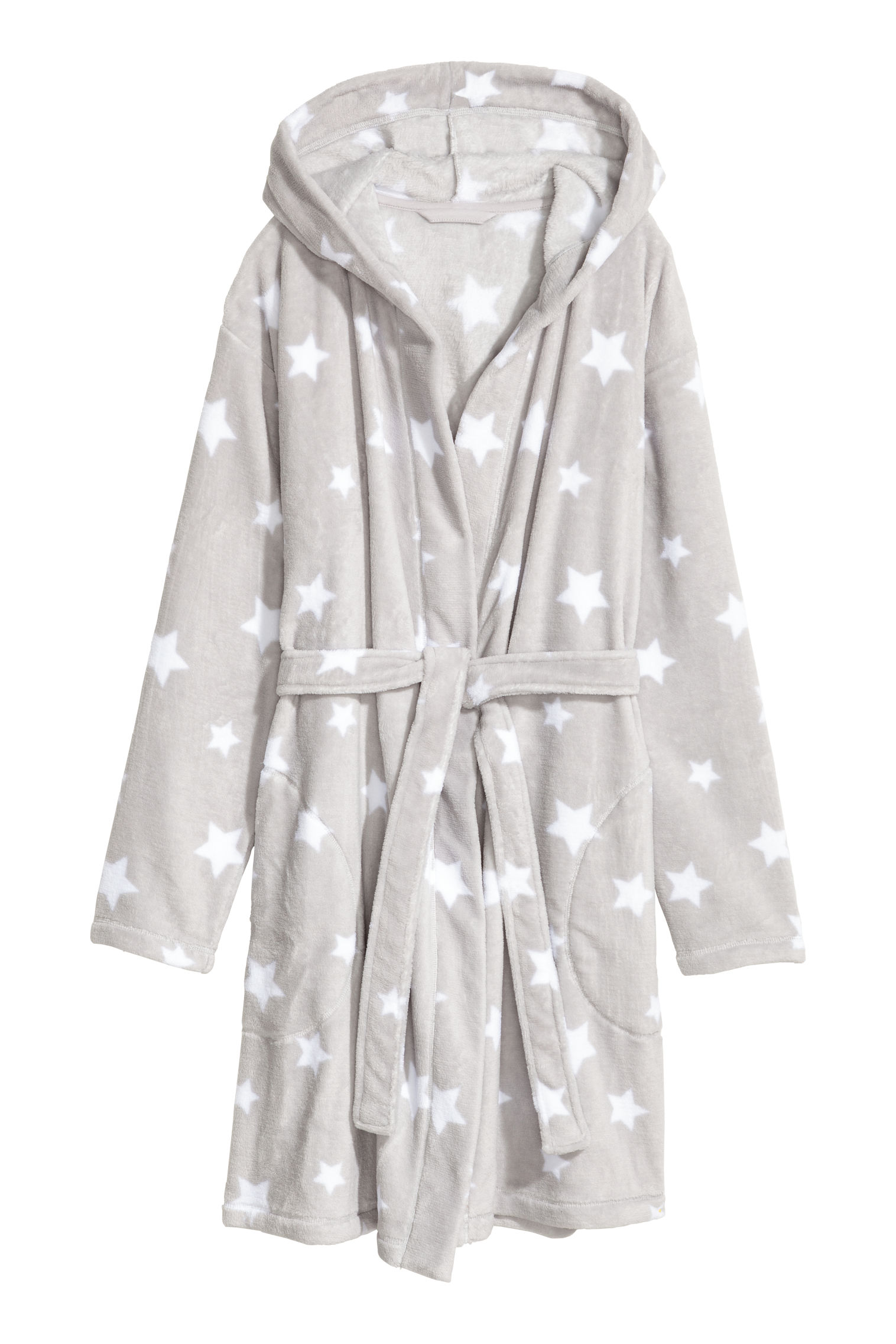 4b77f0ece1 Fleece dressing gown - Light grey Stars - Ladies