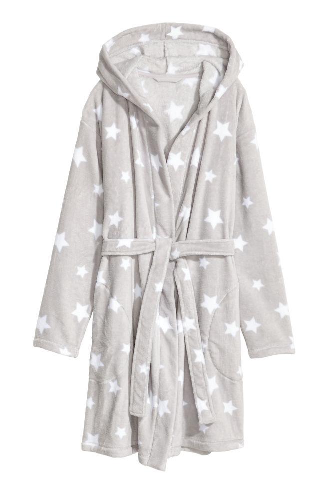 Fleece dressing gown - Light grey/Stars - | H&M