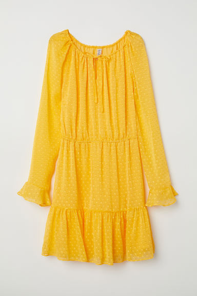 Flounced dress - Yellow/Spotted - Ladies | H&M CN