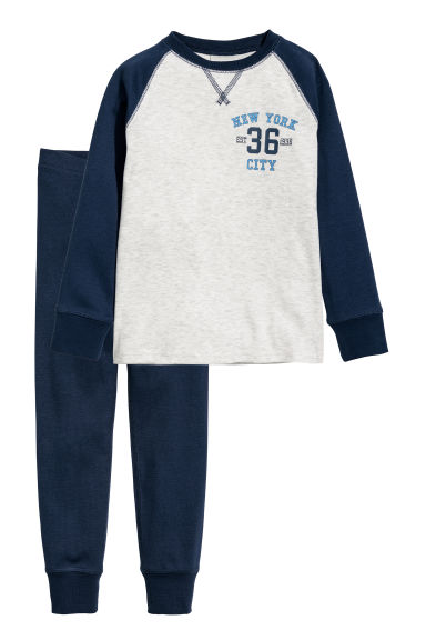 Jersey pyjamas - Light grey/Dark blue - Kids | H&M