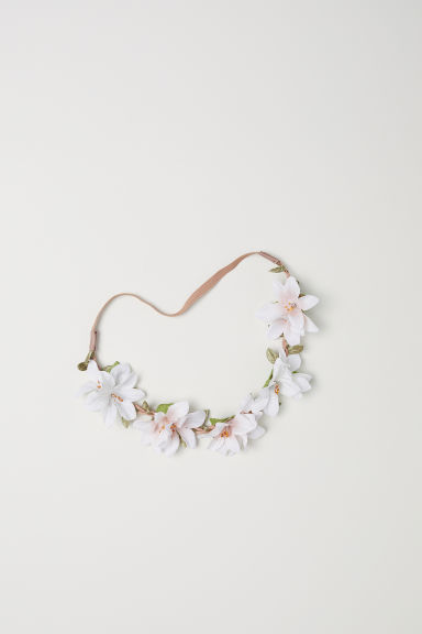 Hairband with flowers - White -  | H&M