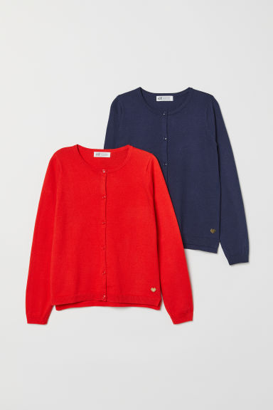 2-pack cardigans - Dark blue/Red - Kids | H&M