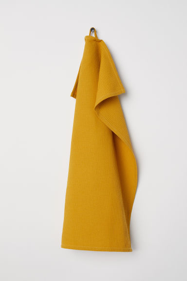 Waffled tea towel - Dark yellow - Home All | H&M GB