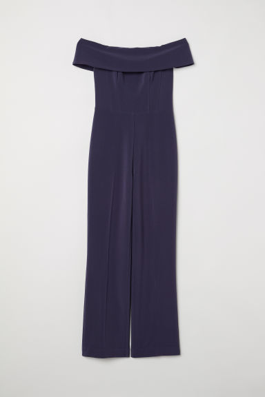 Off-the-shoulder jumpsuit - Dark blue -  | H&M