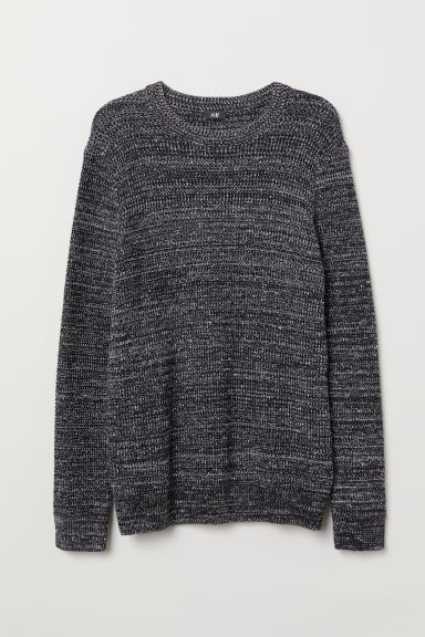 Textured-knit jumper - Black/White marl - Men | H&M CN