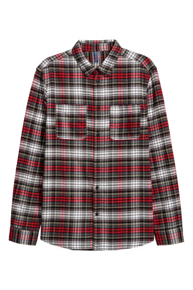 Flannel shirt - Dark grey/Red - Men | H&M CN