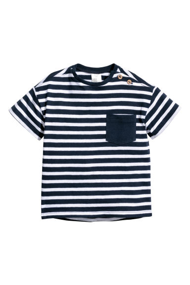 Cotton T-shirt - Dark blue/White striped - Kids | H&M CN