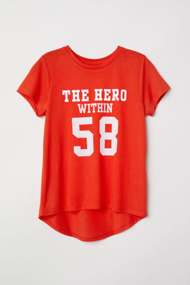 图案上衣 - 亮红色/The Hero Within - Kids | H&M CN