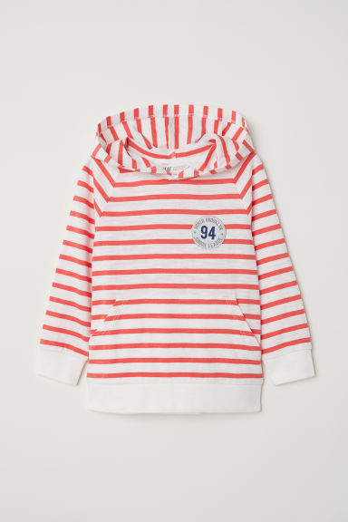 Hooded top - White/Striped -  | H&M