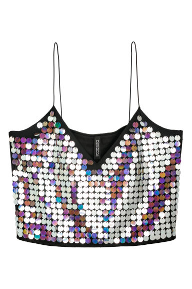 Sequined bustier - Black/Silver-coloured -  | H&M
