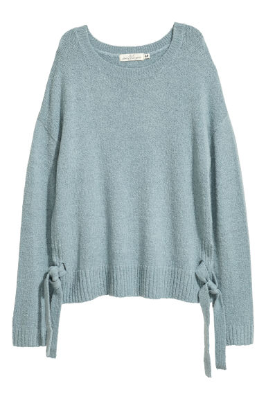 Knitted jumper with ties - Turquoise -  | H&M