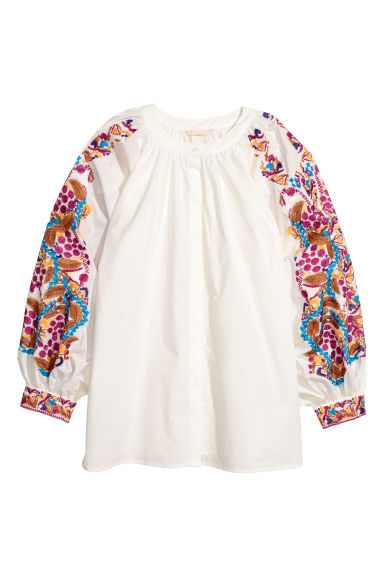Blouse with embroidery - Natural white - Ladies | H&M CN